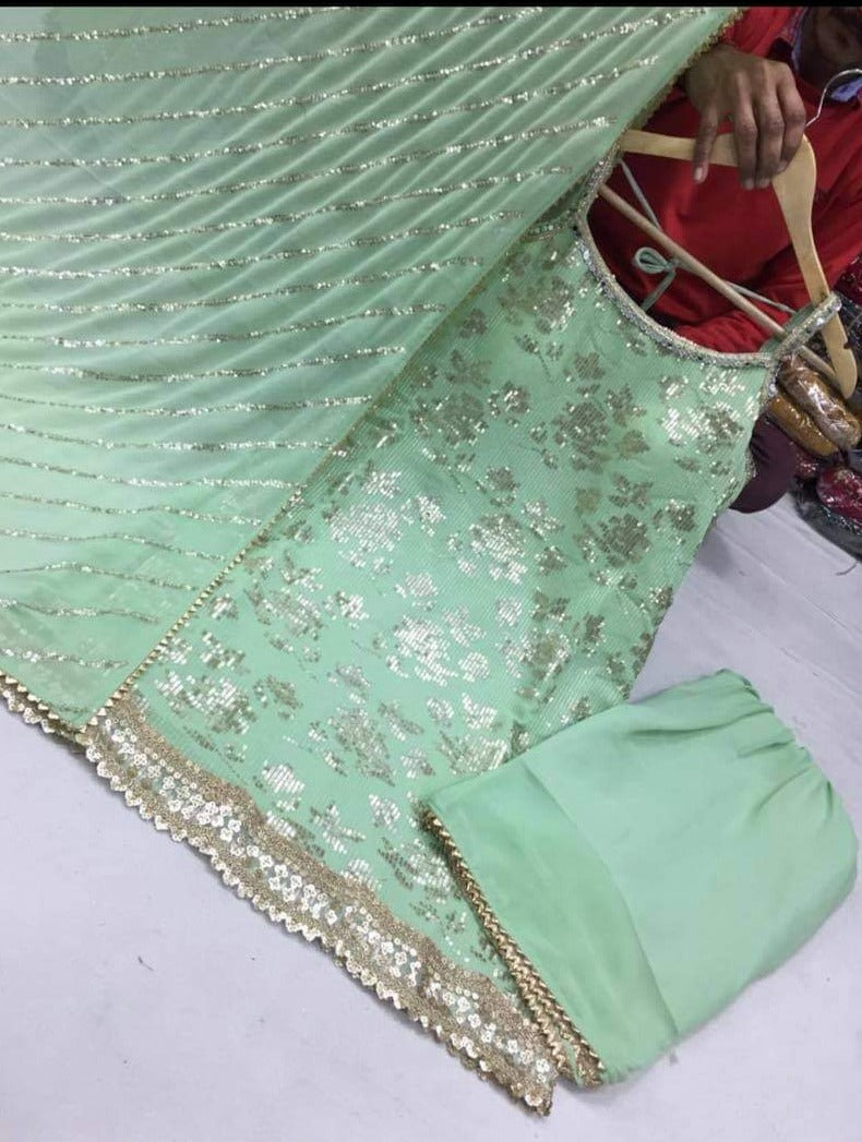 Pastel Green Sequins Embroidery Punjabi Suit with Pant and Dupatta