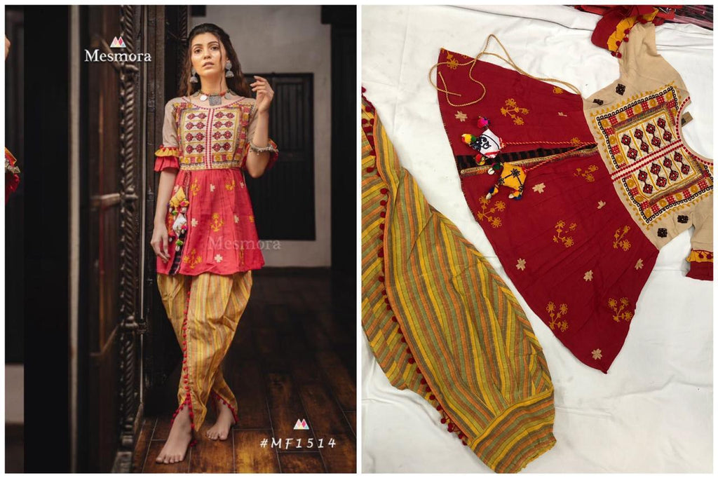 Red Khadi Embroidered Fashion Kedia And Tulip Pant Sets
