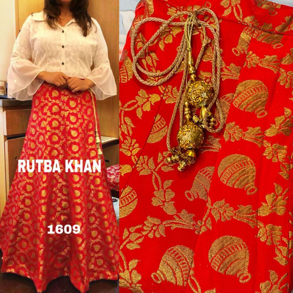 Orange Brocade Skirt With White Shirt Indo Western Dress Online