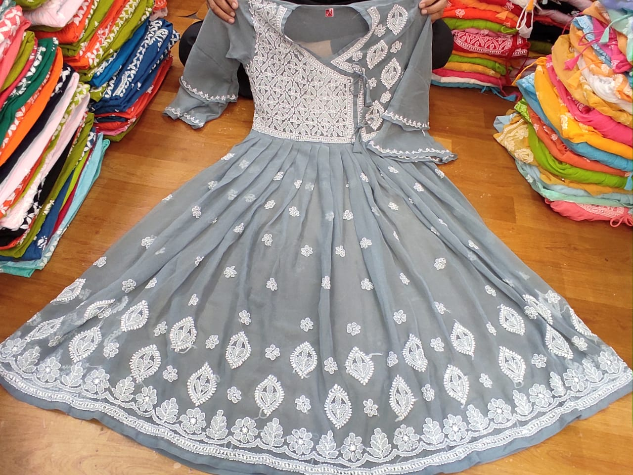 Grey color fancy Georgette gown