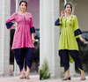 Set of 2 Rayon Latest Kurti Dhoti Pant Suit Designs Online Shopping