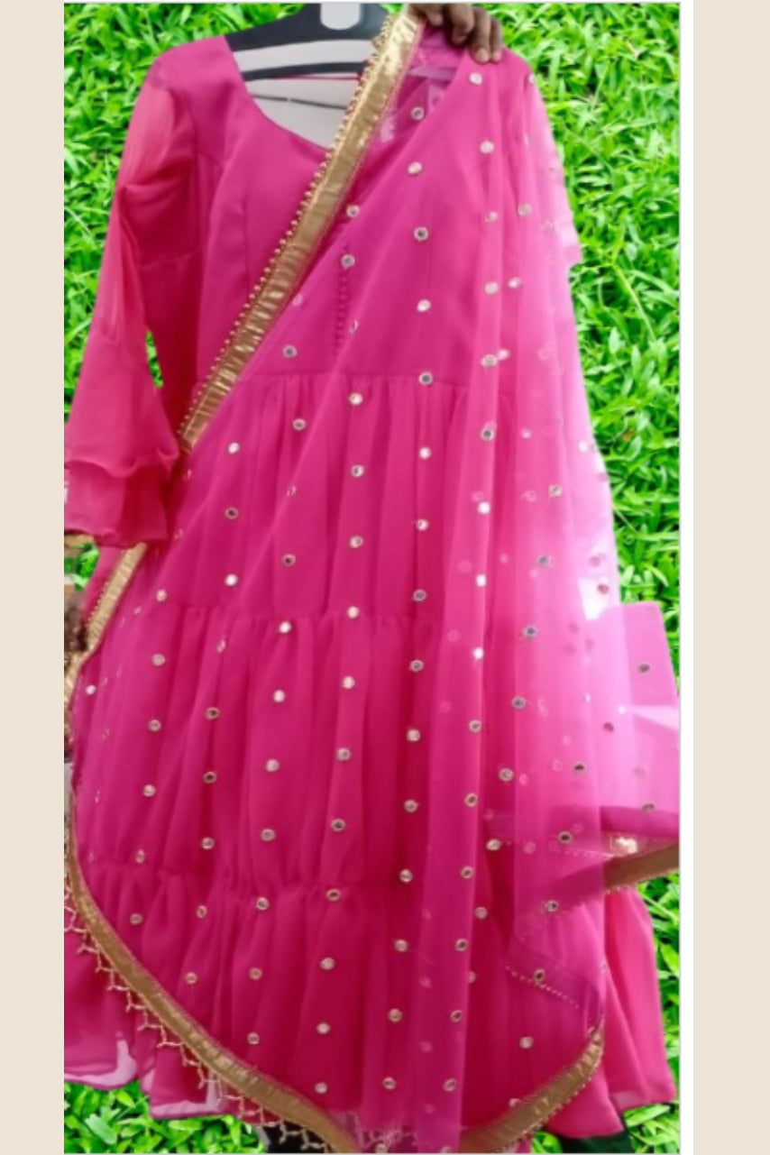 Pink Georgette Three Layer Indo Western Gown With Dupatta