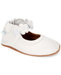 Robeez - Soft Soles - Claire Mary Jane - White with Flowers