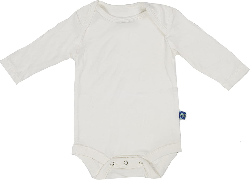 Kickee Pants-Solid Long Sleeve Onesie- Natural