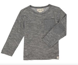 Me & Henry- Micro Strip Long Sleeve- Charcoal (HB539c)