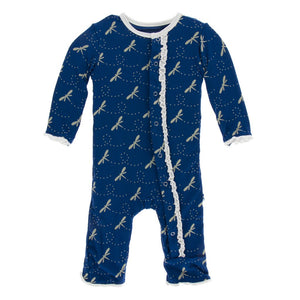 Kickee Pants-Muffin Ruffle Coverall with Zipper-Navy Dragonfly