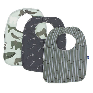 Kickee Pants 3 Pack Bib Set - Aloe Endangered animals - One Sz