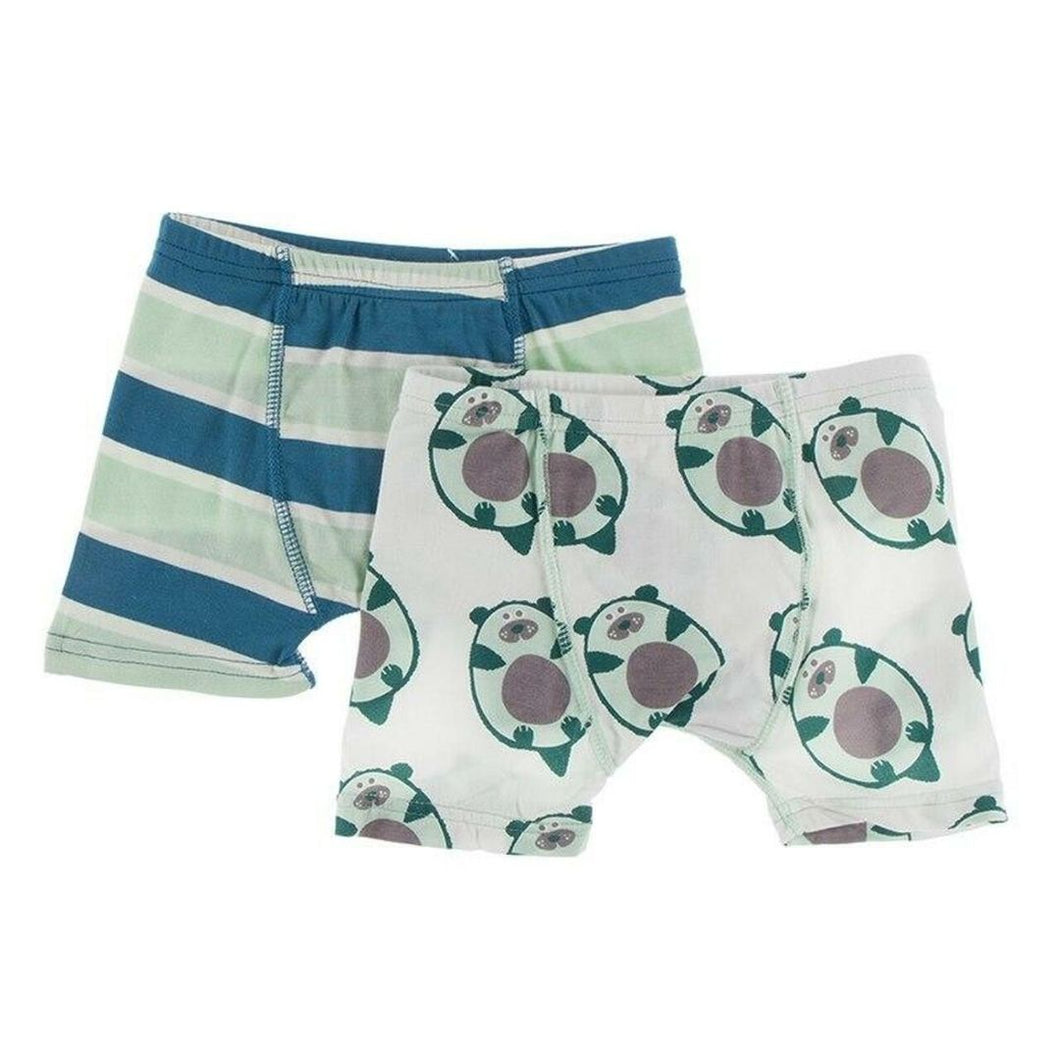 Kickee Pants Boxer Briefs Set-Seaside Café Stripe & Natural Ottercado