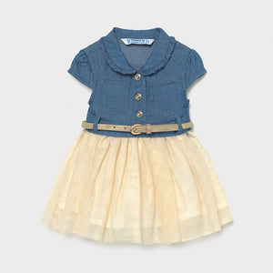 Mayoral - Denim Dress with Tulle