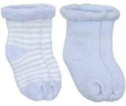 Kushies 2Pack Terry Newborn Socks Blue stripe solid