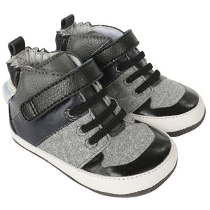 Robeez - Shoes - Zachary High Top - Black/Grey