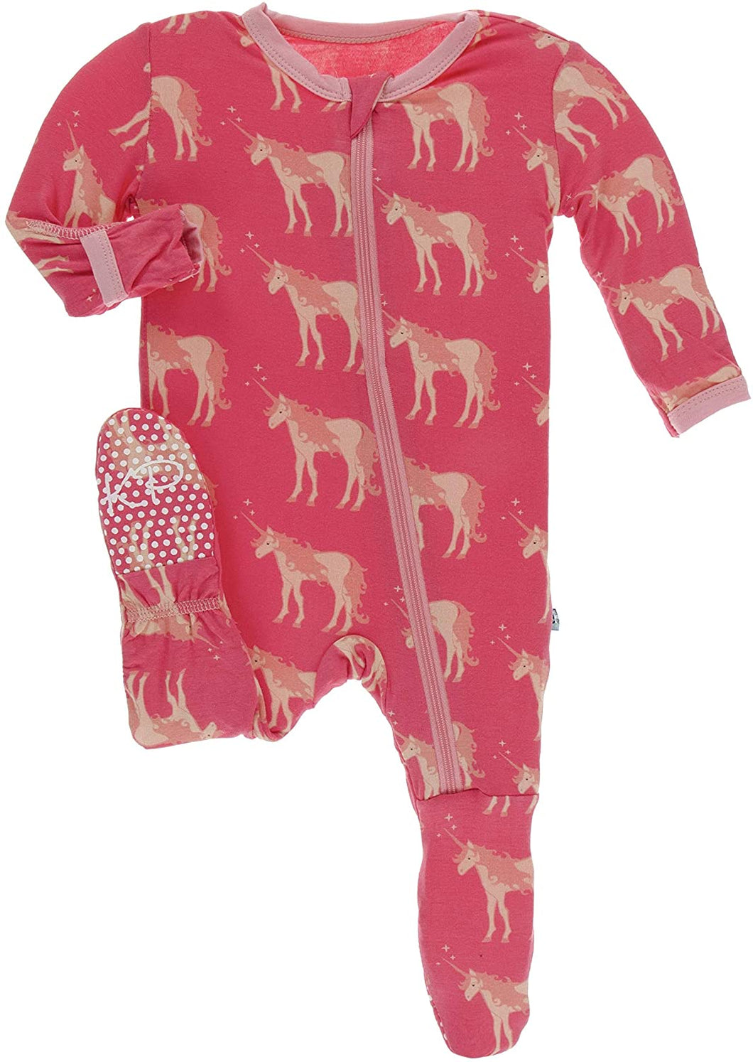 Kickee Pants Footie with Zipper - Red Ginger Unicorns