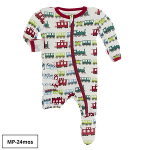 Kickee Pants Print Footie with Zipper -Natural Toy Train