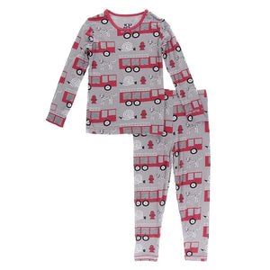 Kickee Pants- Long Sleeve 2 Piece Pajama Set- Feather Firefighter