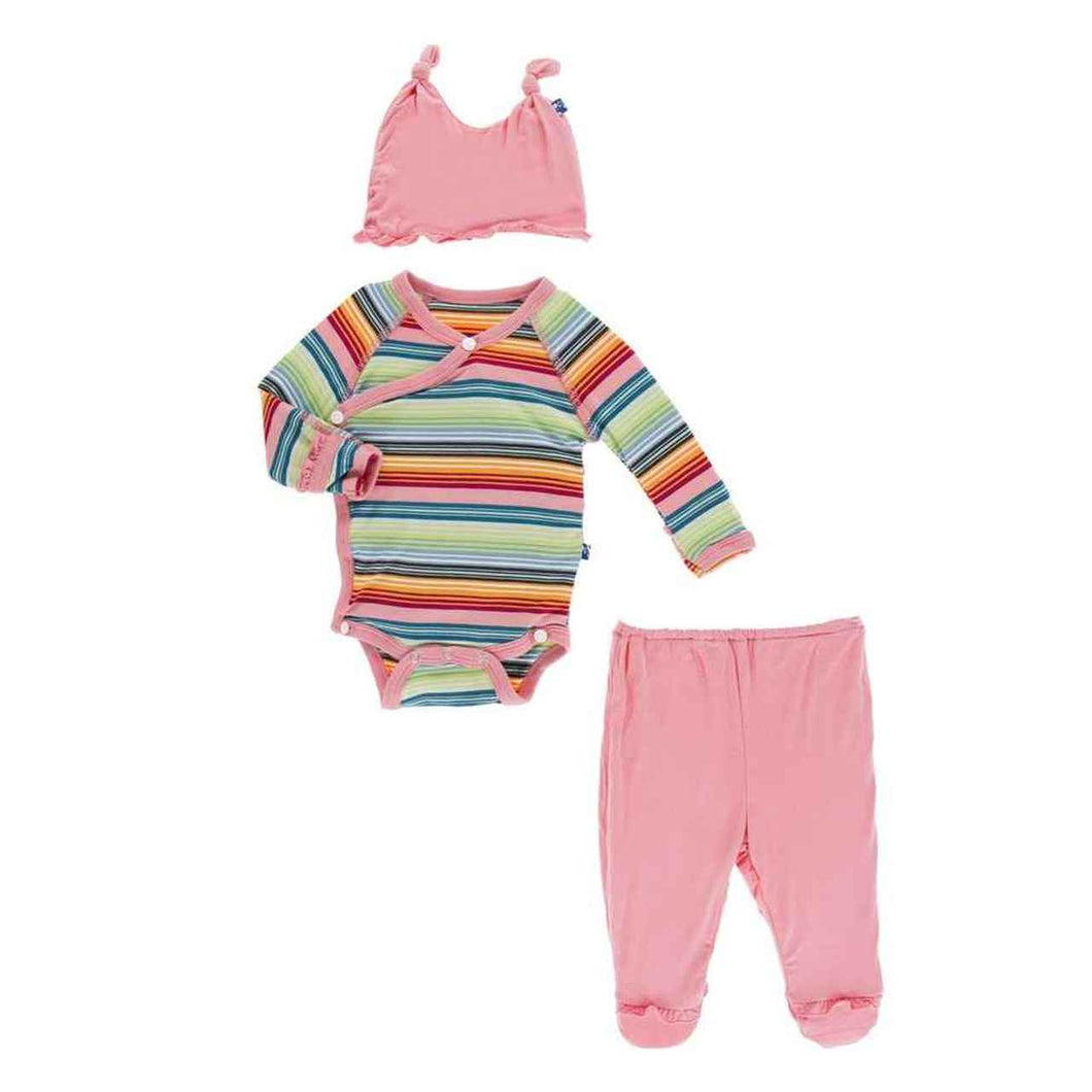 Kickee Pants-Ruffle Kimono Gift Set Cancun Strawberry Stripe