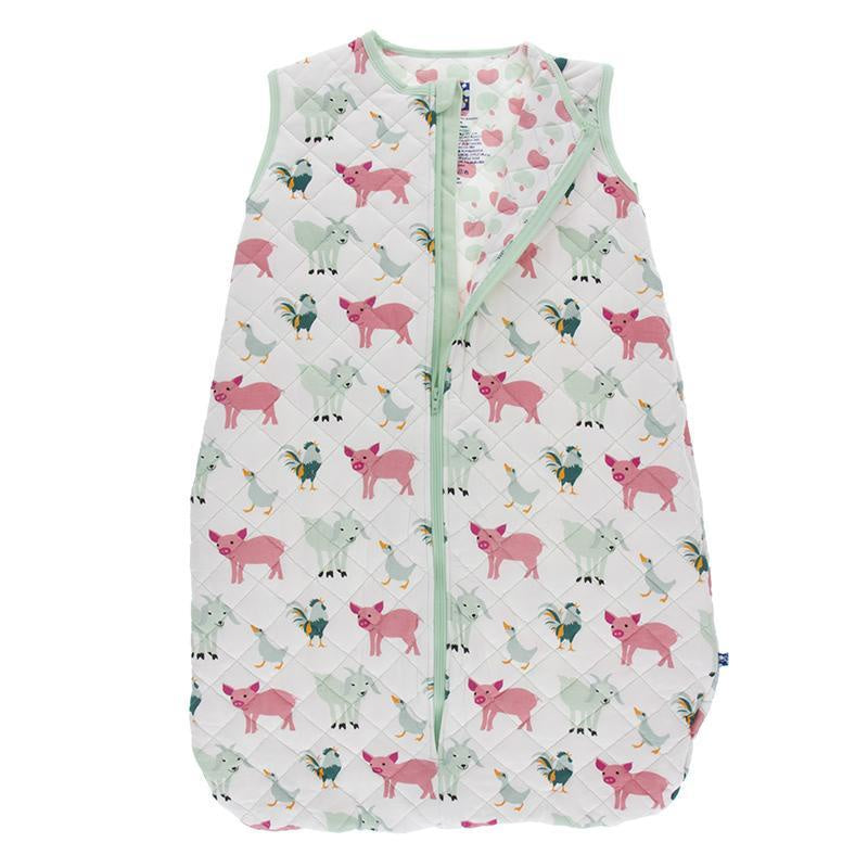 Kickee Pants Print Quilted Sleeping Bag-Natural Farm Animals/Natural Apples