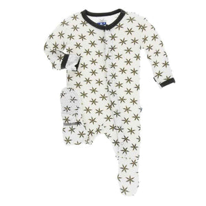 Kickee Pants-Footie w/snaps Natural Star Anise
