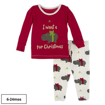 Kickee Pants Long Sleeve Graphic Tee Pajama Set -Natural Christmas Hippo