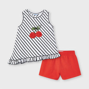 Mayoral Striped Short Set - Red Cherry