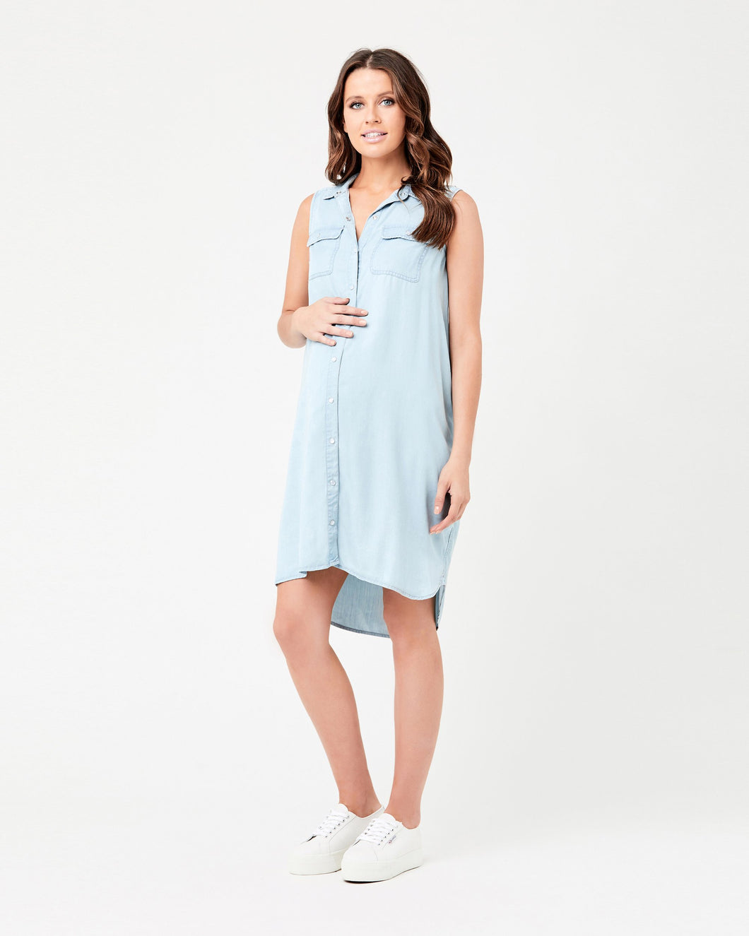 Ripe Maternity- Light Denim Sleevless Weekend Dress