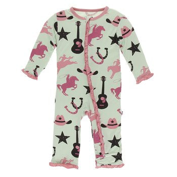 Kickee Pants Print Muffin Ruffle Coverall with Zipper-Pistachio Cowboy