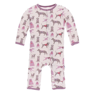 Kickee Pants- Coverall with Snaps- Macaroon Canine First Responders