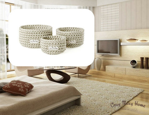 Set of 3 Round BASKETS / BEIGE