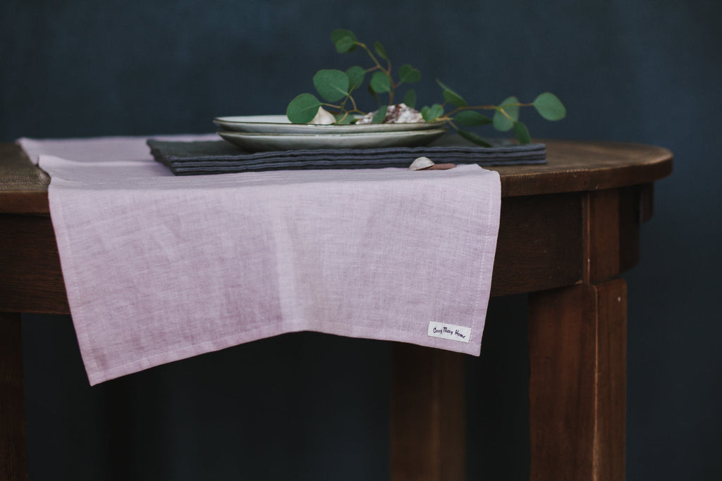 Wedding table runner, Wedding decor, Blush pink wide long pure linen table runner, Shabby chic style, Table serving runner, Provence decor