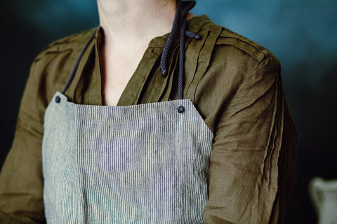 Gray Striped Kitchen Apron, Rustic Apron,