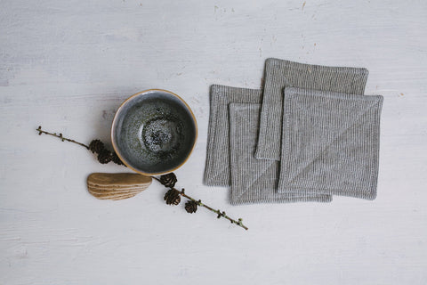 Set of gray striped linen square table coasters, Table decor coasters, Coffee serving fabric coasters, Rustic table decor, Coffee set