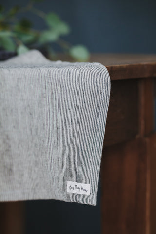 Gray striped linen kitchen serving table runner