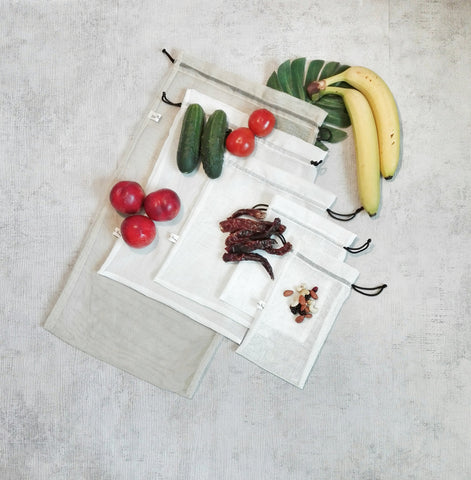 SET of 5 Reusable Bags For Fruits, Vegetables and Bulk Products, Zero Waste Shopping Bags, Storage Bags