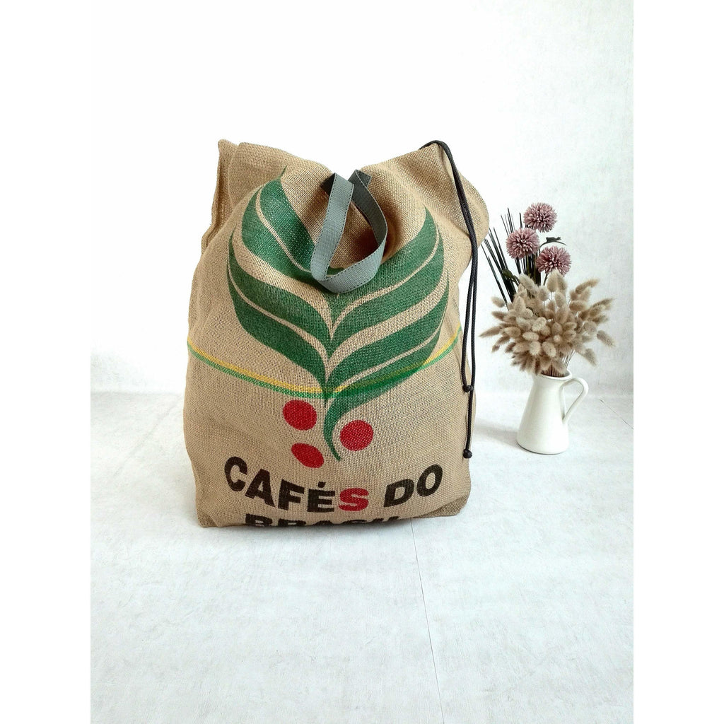 Upcycled Large Laundry Organizer made of Coffee Beans Sack, Laundry Basket for Coffee Lovers