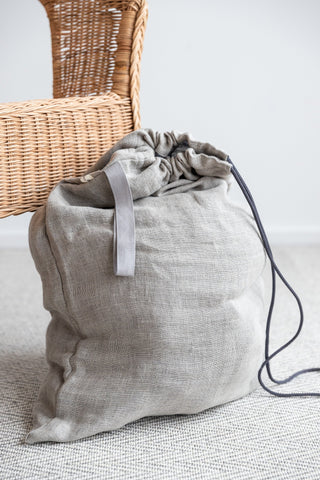 Big Laundry Organizer made of Light Gray Linen