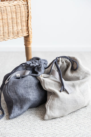 Laundry Bag for Socks and Underwear made of Light Gray Linen with Drawstring