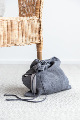 Socks and Underwear Organizer Bag made of Dark Gray Linen with Drawstring