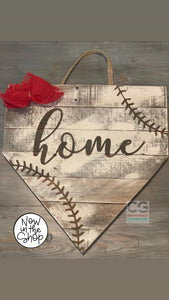 Home Plate - Red Bow & Red Stitching