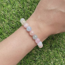 Load and play video in Gallery viewer, Morganite and Aquamarine 8mm Bracelet