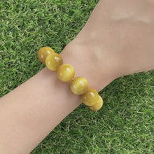 Load and play video in Gallery viewer, Yellow Tiger's Eye 14mm Bracelet