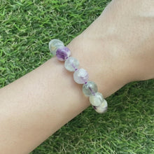 Load and play video in Gallery viewer, Scolecite Angel Wing Fluorite 9.5mm Bracelet