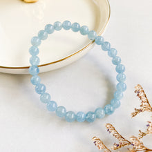 Load image into Gallery viewer, Aquamarine 6mm Bracelet