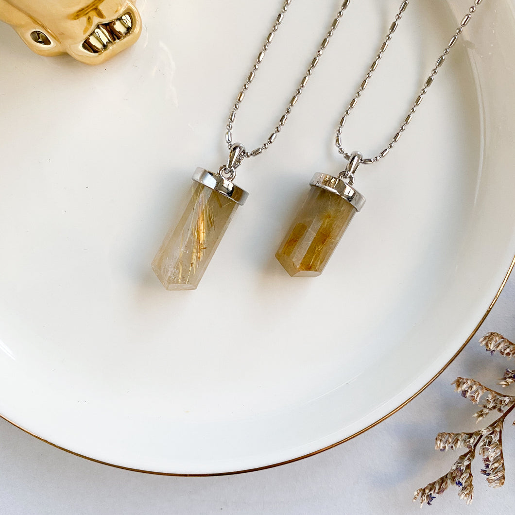 Gold Rutilated Quartz Pointer Pendant