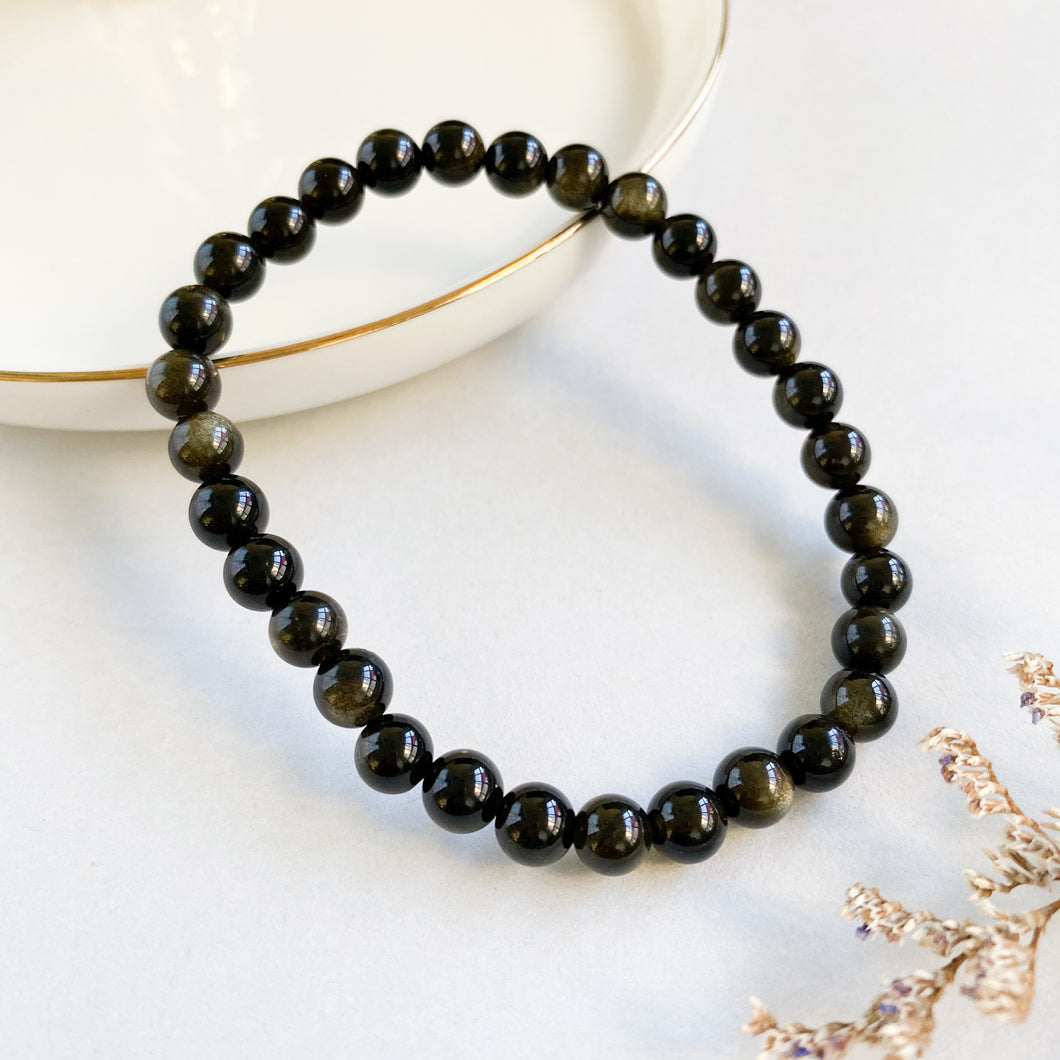 Gold Sheen Obsidian 6mm Bracelet