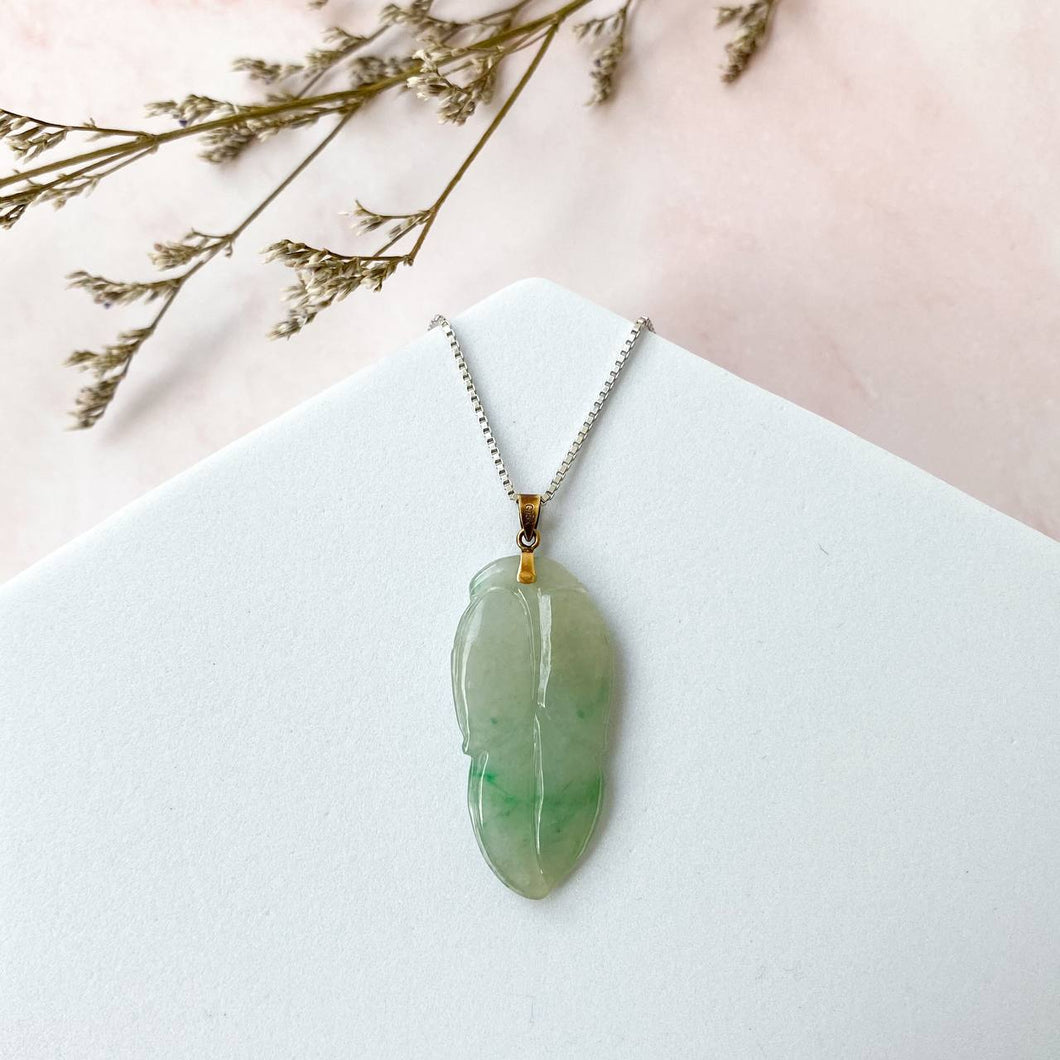 Grade A Ice Apple Green Jade Leaf Pendant