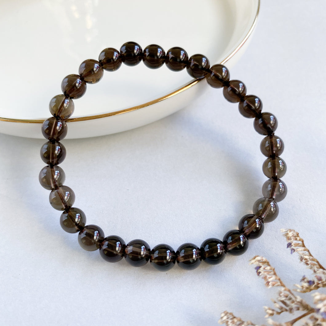 Smoky Quartz 6mm Bracelet