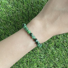 Load and play video in Gallery viewer, Grade A Laokeng Flower Green Jade 6mm Bracelet