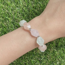Load and play video in Gallery viewer, Morganite and Aquamarine Asymmetric Bracelet