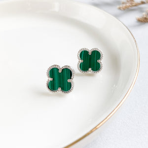 Malachite Four Leaf Clover Earring Studs
