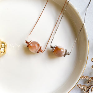 Sakura Agate Solitaire Necklace