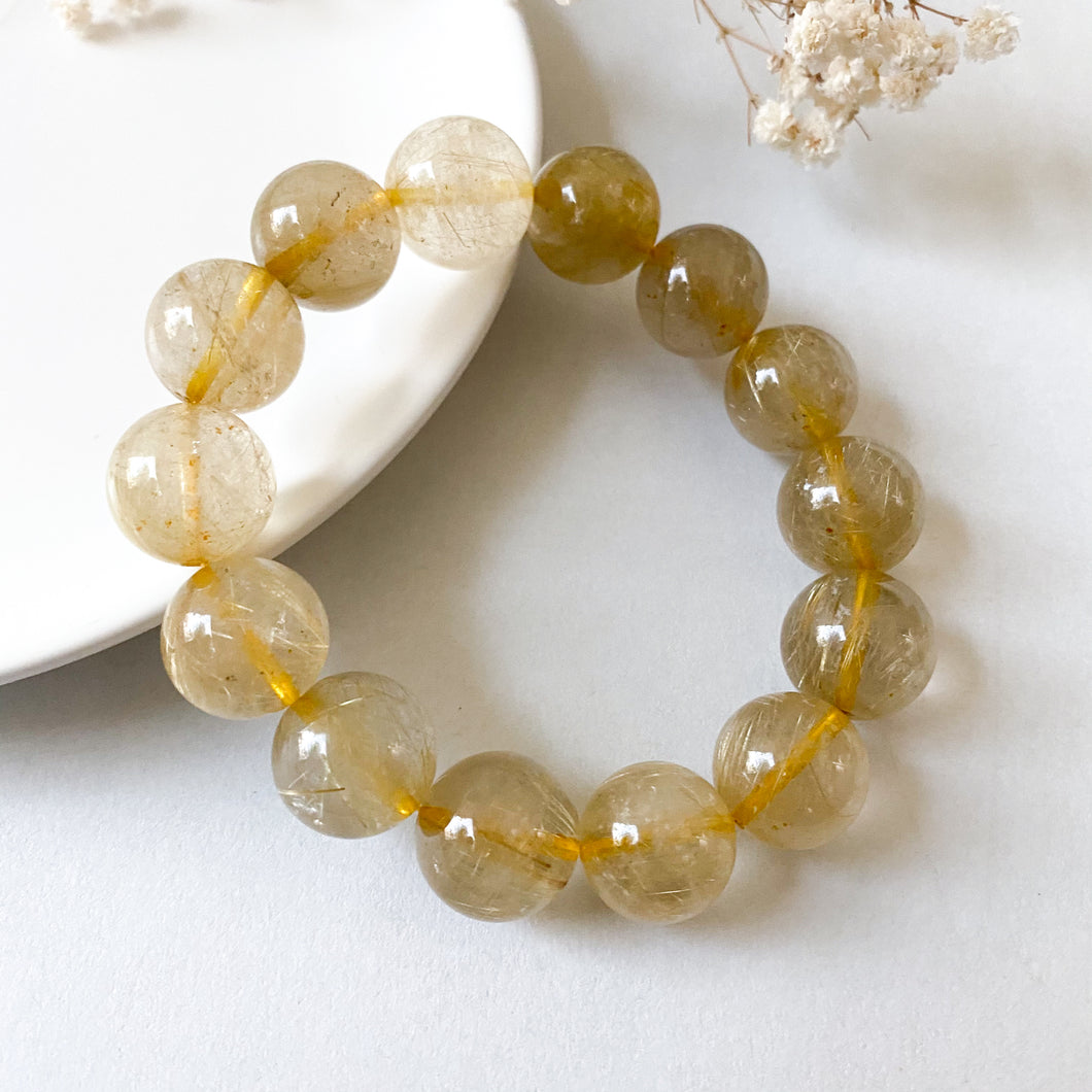 [FLASH SALE] Gold Rutilated Quartz 14.8-16mm Bracelet